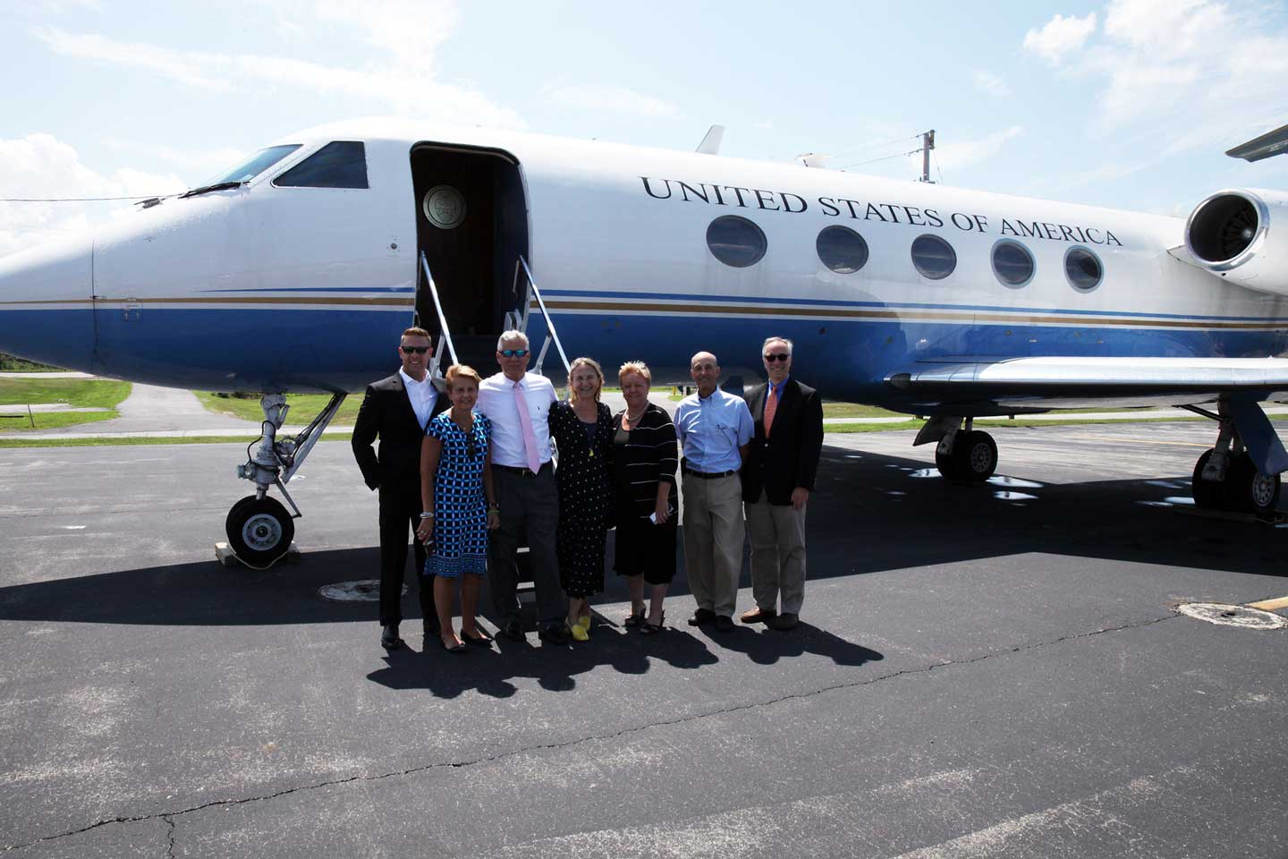 Dutchess Community College and Dutchess County officials welcomed a Gulfstream G3 to Hudson Valley Regional Airport that previously served in the presidential fleet. The plane, acquired through government surplus, will support the Airframe and Powerplant Maintenance Program the college will introduce in 2020. From left to right: Ron Hicks (Dutchess County government), Bridgette Anderson (DCC), William O'Neil (Dutchess County government), Dr. Pamela Edington (DCC president), Dr. Ellen Gambino (DCC), John Trosie (DCC) and Tim Massie (DCC trustee).